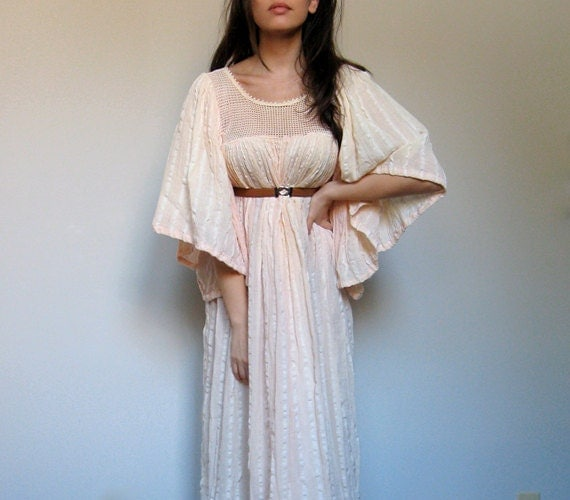 Grecian Gauze Maxi Dress Vintage Boho Tented  S/ M/ L Summer Fashion