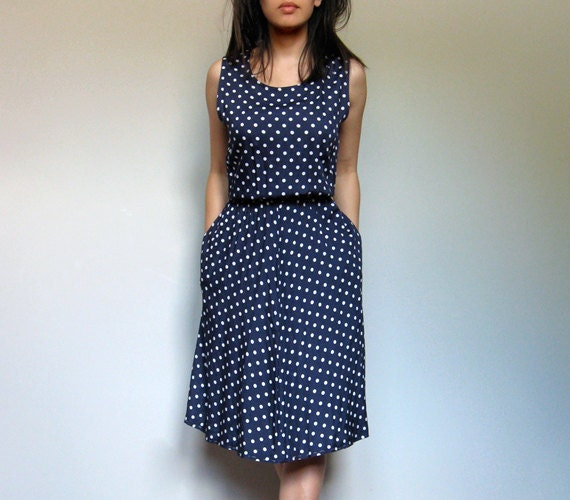 Polka Dot Dress Navy Blue Vintage 80s Pockets M/ by MidnightFlight