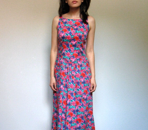 Floral Dress Pockets Vintage Women 80s Midi Criss Cross Long Summer Dress Sundress - Small S