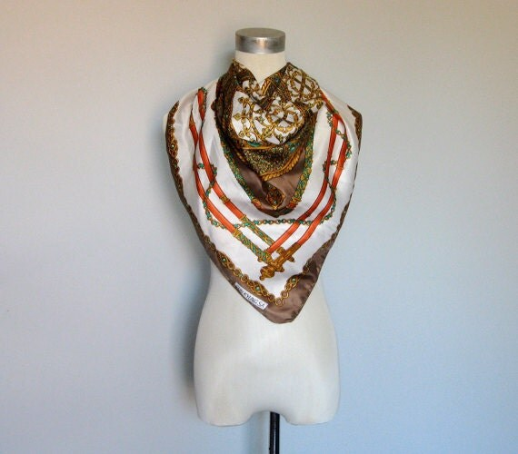 Vintage 70s Scarf Large Masterpiece Handkerchief Gold Chain Emerald Jeweled Art Print Scarf