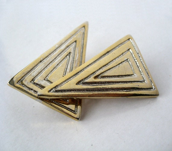 Vintage Tribal Earrings Gold 80s Triangle Geometric Jewelry Clip On