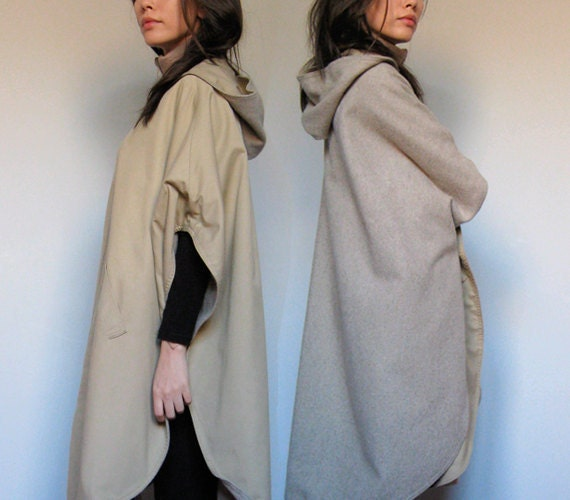 Reversible Cape Coat Beige Wool Hooded Vintage Winter Fashion Cape Jacket - One Size Small Medium Large S /M /L