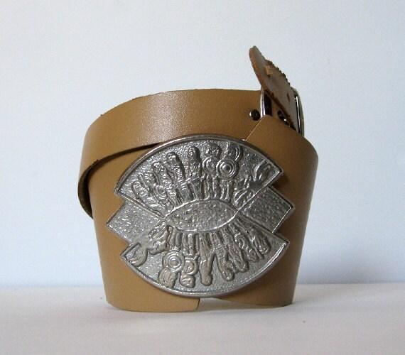 Wide Leather Belt Beige Tribal Boho Metal Buckle - Small Medium S/ M