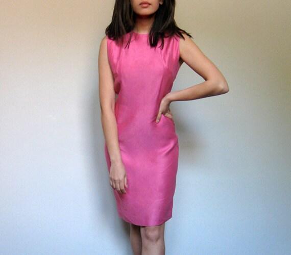 Pink Wiggle Dress 60s Hourglass Shift Summer Cocktail Dress L