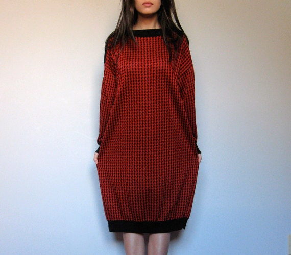 Oversized Sweater Dress 80s Houndstooth Batwing Casual Fall Fashion Long Sleeve - Medium Large M/ L