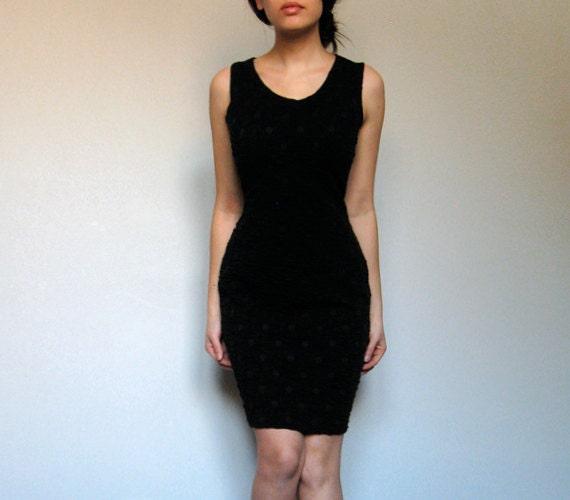 Vintage Bodycon Dress Black Mini Polka Dot Fashion M