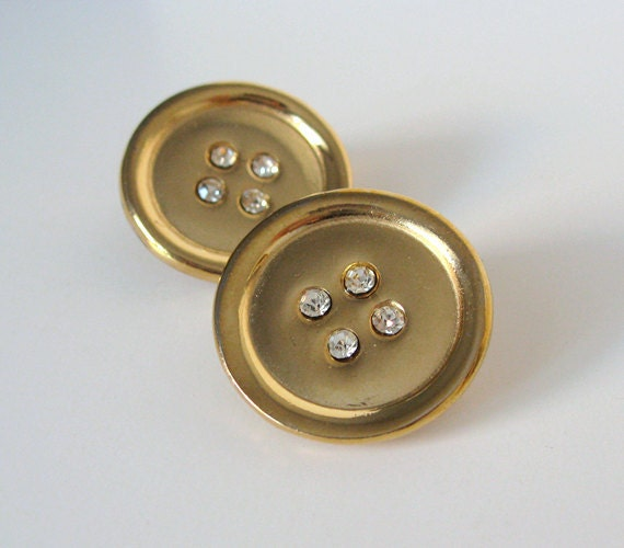 Clip On Earrings Gold Rhinestone Button 1980s Circle Casual Office Fashion 80s