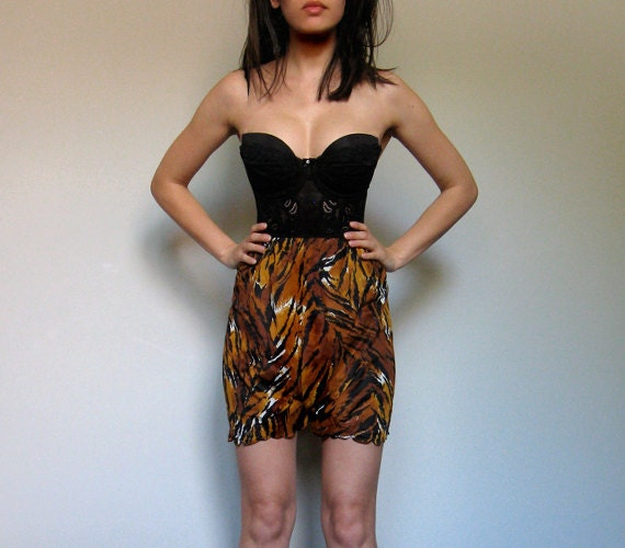 Animal Print Slip Shorts Sheer Scalloped 80s High Waisted XS/ S/ M