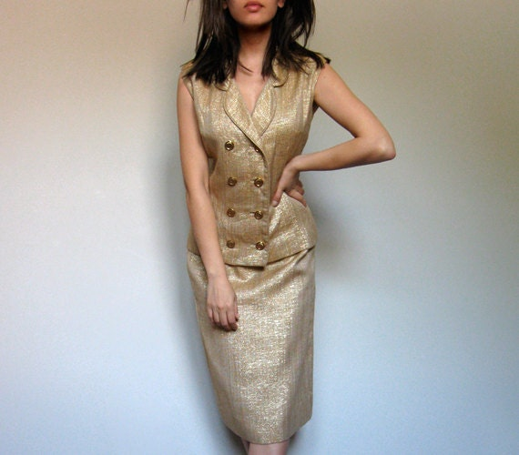 1960s Skirt Suit Vintage Two Piece Suit Gold Formal Party Wear Double Breasted 60s Suit Sleeveless - Medium. Large. M/ L