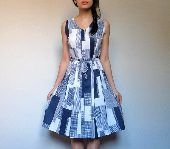 Vintage Sundress Printed Abstract Blue White Spring Fashion Sailor Casual Summer Dress - Medium M