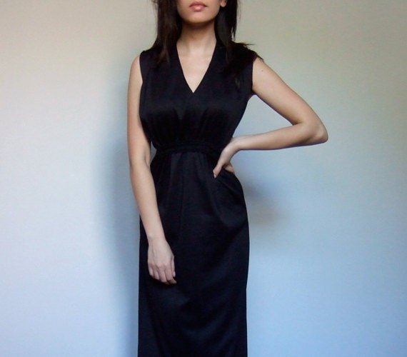 Vintage Black Dress V Neck Dress Simple 1970s Empire Waist Summer Dress - Extra Large XL
