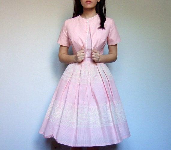 Pastel Pink Dress Gingham Full Skirt 2 Piece Spring Fashion Garden Party Dress - Extra Small XXS/ XS