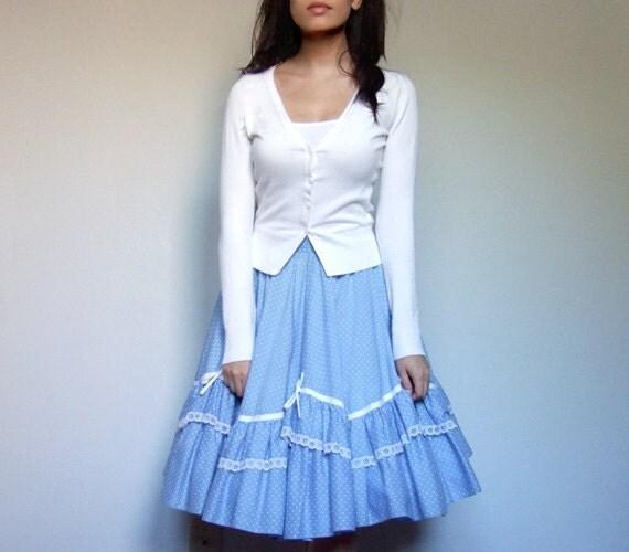 Vintage Circle Skirt Polka Dot Summer Skirt Blue White Bow S/ M