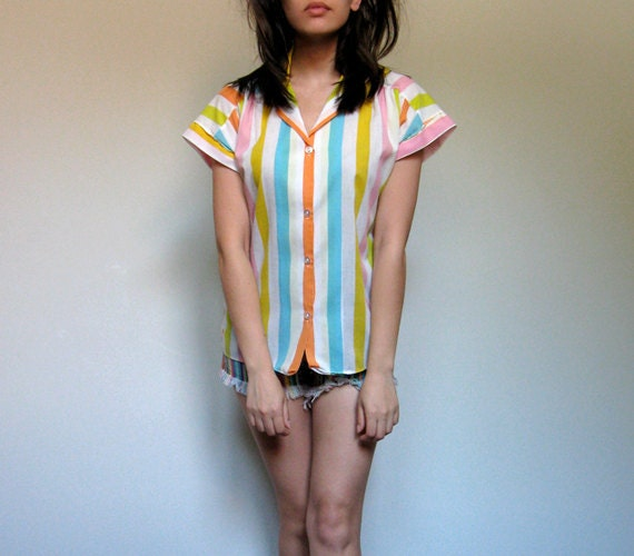 Colorful Striped Shirt Blouse Cuffed Cap Sleeve Button Up Top Pastel Summer Fashion - Medium M