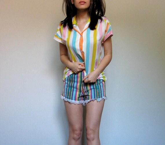 """90s Denim Cutoffs High Waisted Jean Shorts Frayed Striped Summer Cut Off Shorts  - Extra Small XXS 23"""" Waist"""