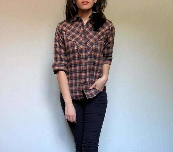 Levis Plaid Shirt Western Collar Button Up Brown Fall Fashion Cotton Flannel Shirt - Extra Small. Small XS/ S