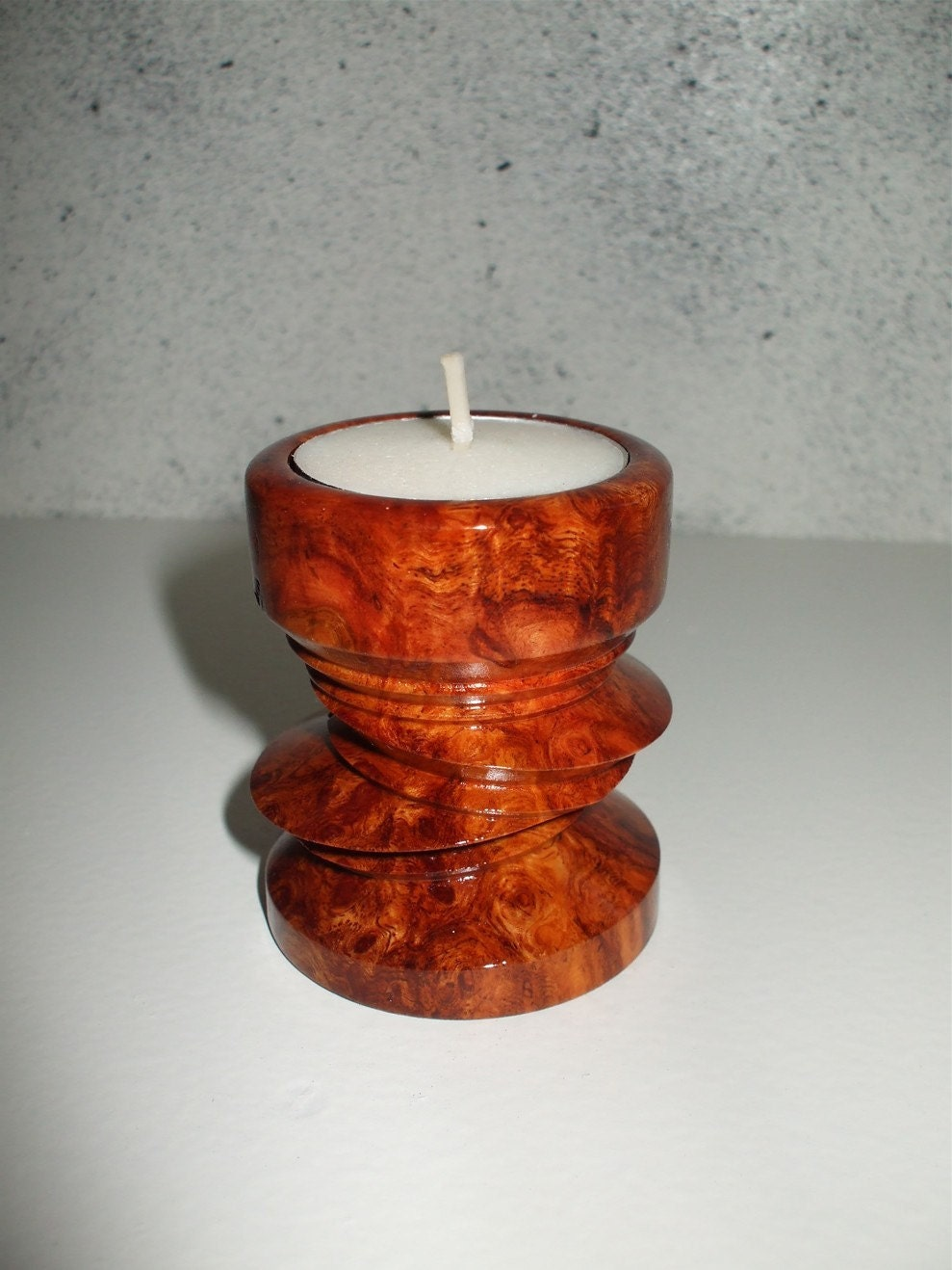 Hand Turned Exotic Wood Tea Light Candle Holder By