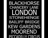 London Subway Style Typography Print 20x60