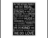 Customized Family Rules 5x7 Subway Art Sign in 11x14 white mat