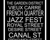 Subway Art Sign New Orleans Destination Typography  Print 11.75x36