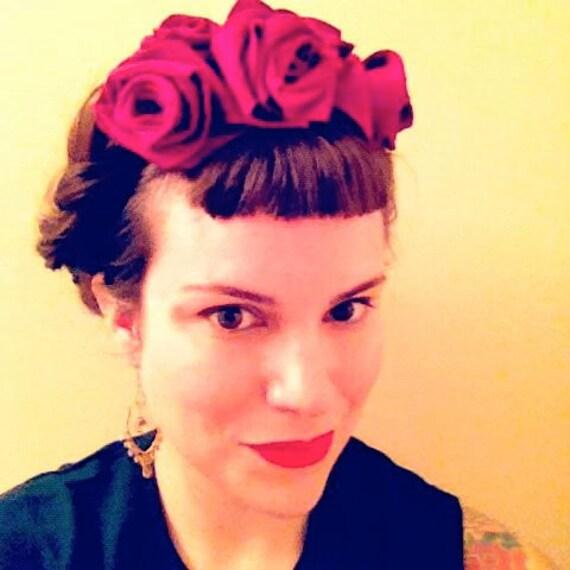 Frida Fascinator: Deep Magenta Felt Rose Headpiece