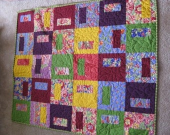 Flowery Colorful Blocks Quilt