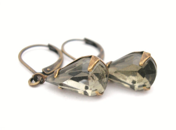 RESERVED FOR CHERYL Earrings - Antiqued Brass Ox with Vintage Smoky Black Diamond Grey Pear Faceted Czech Glass Jewels