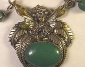 Sterling Silver and Adventurine Art Nouveau Pendant Necklace