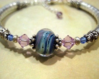 Mediterranean and pale Blue with Tanzanite Lampwork and Sterling Noodle Bangle Bracelet