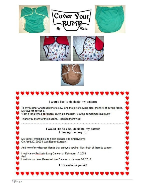 Cover Your Rump Adult Cloth Diaper Pattern. From GoneCreative
