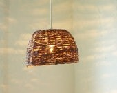 Spring Renewal Birds Nest Wicker Basket Hanging Pendant Lighting Fixutre - UpCycled ReCycled