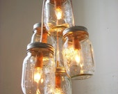 GLOW Mason Jar Chandelier - Rustic Upcycled Clustered Hanging Pendant Lighting Fixture From BootsNGus - Modern Country Home & Wedding Decor