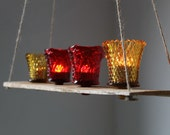 Sparkling Summer Nights Golden Amber and Rich Fire Red Textured Tree Swing Style Chandelier - Eco Friendly Candle Lit Light