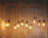 Mason Jar Chandelier Lighting Fixture, Large Rustic Mason Jar Pendant Lamp, 10 Jars, BootsNGus Lighting and Home Decor, Bulbs Included