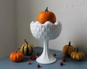 Milk Glass Pedestal Compote - Vintage Milk Glass Centerpiece Fruit Bowl Vase Serving Dish