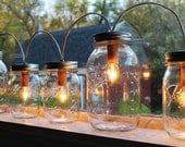 Mason Jar Lights - Banner Style - Modern Industrial Rustic Farmhouse - Handrcrafted Upcycled BootsNGus Lighting Fixture