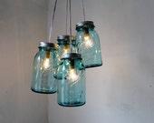 Antique Blue Mason Jar Chandelier - 4 Blue Quart Jars - Handcrafted Mason Jar Lighting Fixture - Upcycled BootsNGus Lamp - Direct Hardwire