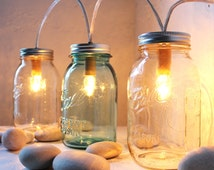 Mason Jar Lighting Standing Banner Lights Fixture - BootsNGus Lamp Design - Blue and Clear Glass Upcycled Wedding