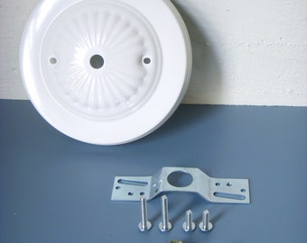 DIY - Decorative Bright White Embossed Ceiling Canopy Plate - Pendant Light Fixture Mounting Kit