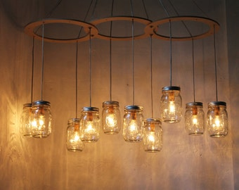 Mason Jar Chandelier Lighting Fixture, Large Canopy Style 10 Jars, BootsNGus Lamp Design
