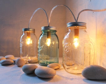 Mason Jar Banner Lights - String Of Lights - Modern Industrial Rustic Farmhouse Lantern - Handrcrafted Upcycled BootsNGus Lighting Fixture