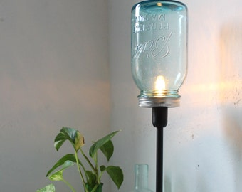 True Blue - Mason Jar Lamp - Upcycled Antique Mason Jar Table Top Lamp - Black Metal and Aqua Blue Glass Lighting Fixture - BootsNGus Light