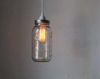 Mason Jar Pendant Lamp, Large Half Gallon Mason Jar Hanging Lighting Fixture, Upcycled Rustic Modern Chic BootsNGus Home Lighting and Decor