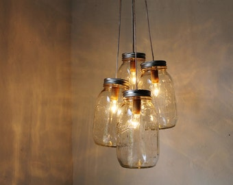SPRING CLEAN Mason Jar Chandelier - 4 quart jars - Handcrafted Mason Jar Lighting Fixture - Upcycled BootsNGus Lamp - Direct Hard Wire