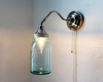 Antique AQUA - Industrial Stainless Steel Gooseneck Wall Sconce - Quart Sized Blue Ball Mason Jar Lamp - UpCycled BootsNGus Lighting Fixture