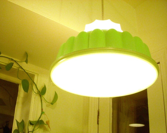 Upcycled Recycled MOD Retro Mint Green Jell-O Mold Tupperware TupperLight Kitchen Table Hanging Pendant Lighting Fixture