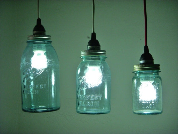 UpCycled QUART SIZED Blue Ball Ideal Mason Jar Catch A FireFly Hanging Pendant Lighting Fixture