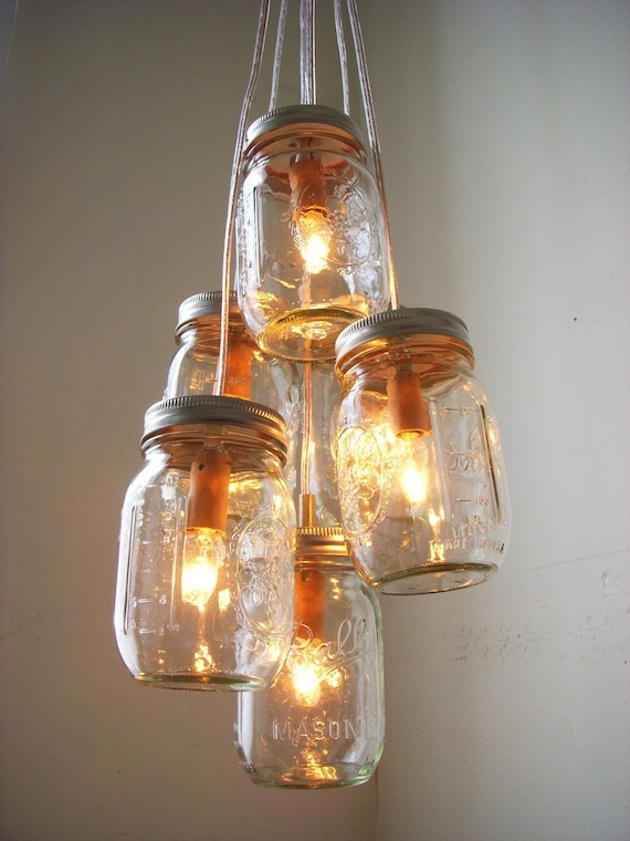 Items similar to glow mason jar chandelier rustic for Country lighting fixtures for home