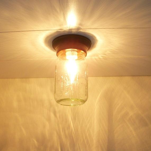 Sparkling Summer Nights Clear Glass Mason Jar Flush Ceiling