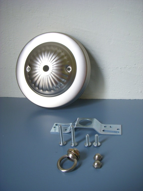 DIY - Decorative Silver Embossed Ceiling Canopy Plate - Pendant Light Fixture Mounting Kit - Brushed Nickel finish